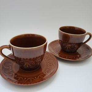 Vintage set of 2 glossy brown cup and saucers